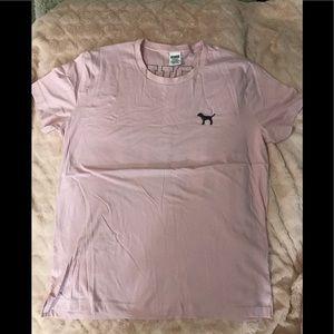 PINK pink boyfriend fit tee w/sequin logo size L